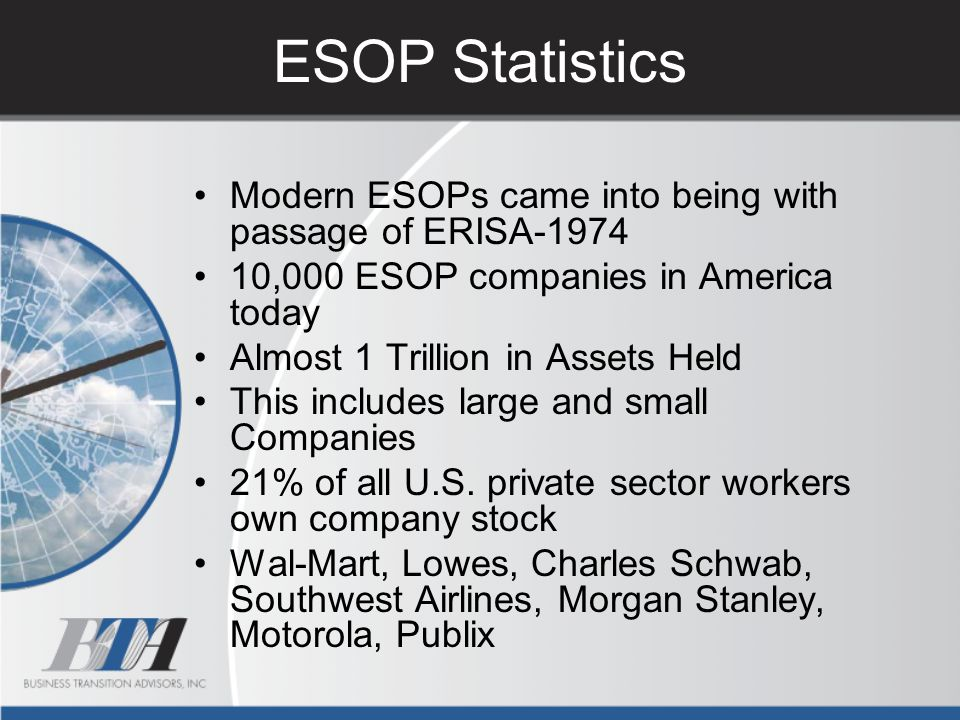 ESOP Statistics Modern ESOPs came into being with passage of ERISA-1974. 10,000 ESOP companies in America today.