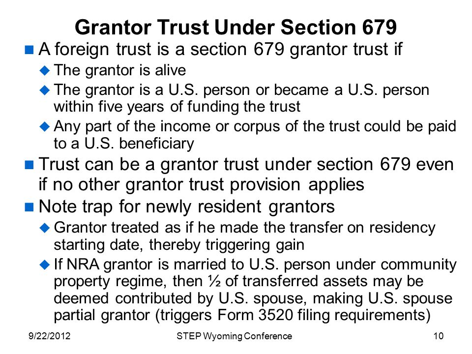 Grantor Trust Under Section 679