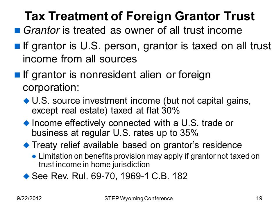 Tax Treatment of Foreign Grantor Trust