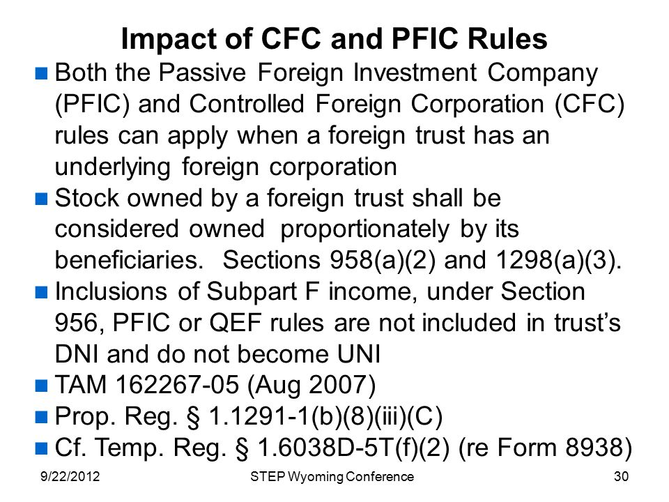 Impact of CFC and PFIC Rules