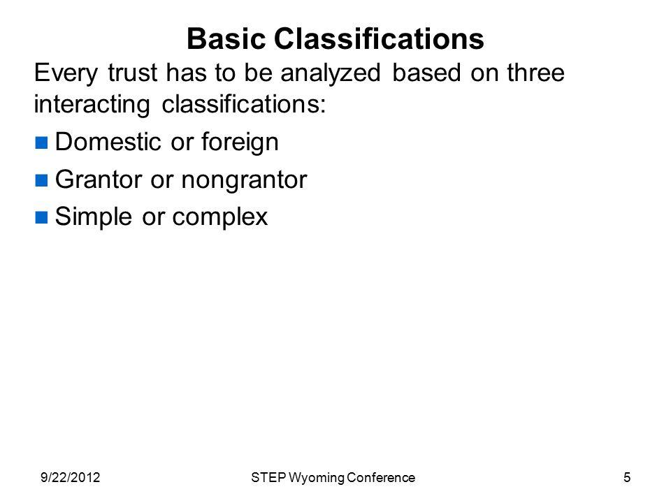 Basic Classifications