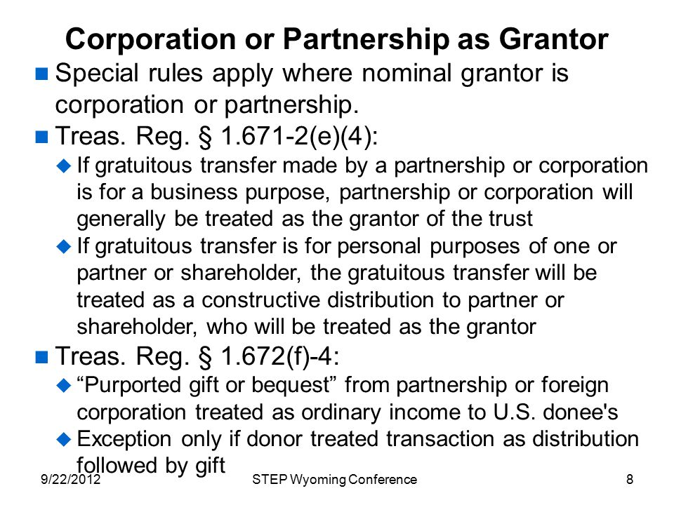 Corporation or Partnership as Grantor