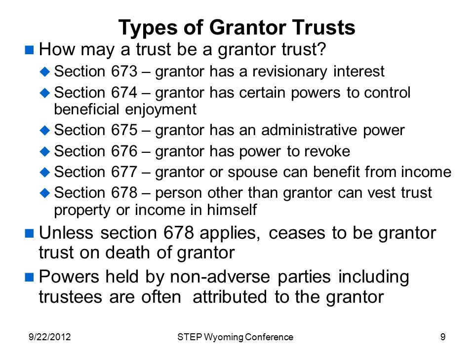Types of Grantor Trusts