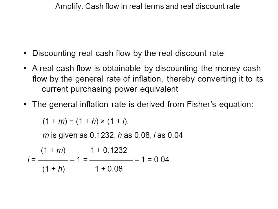 Amplify: Cash flow in real terms and real discount rate