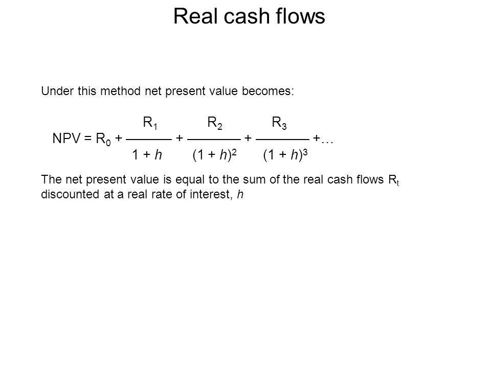 Real cash flows Under this method net present value becomes: