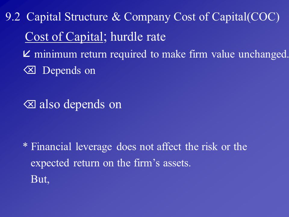 9.2 Capital Structure & Company Cost of Capital(COC)