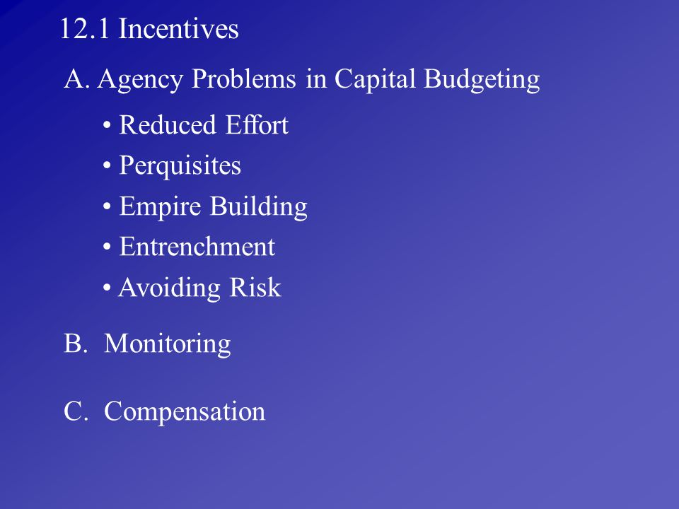 12.1 Incentives A. Agency Problems in Capital Budgeting Reduced Effort