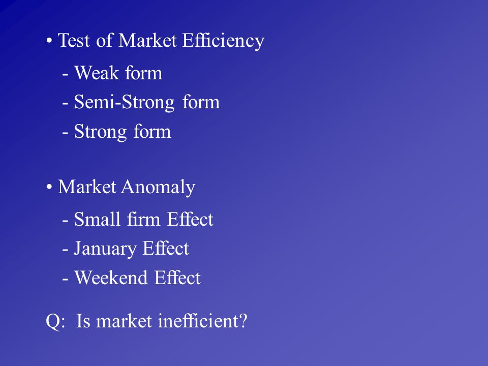 Test of Market Efficiency