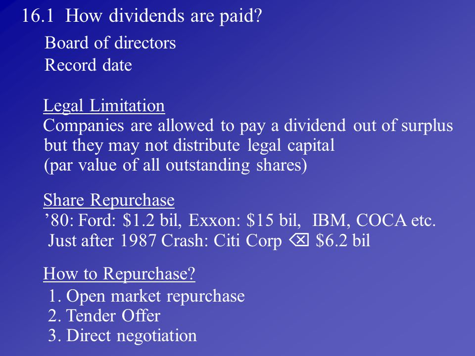 16.1 How dividends are paid Board of directors Record date