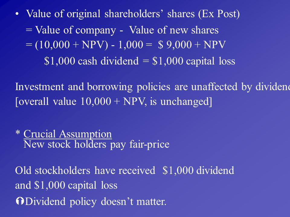 Value of original shareholders' shares (Ex Post)