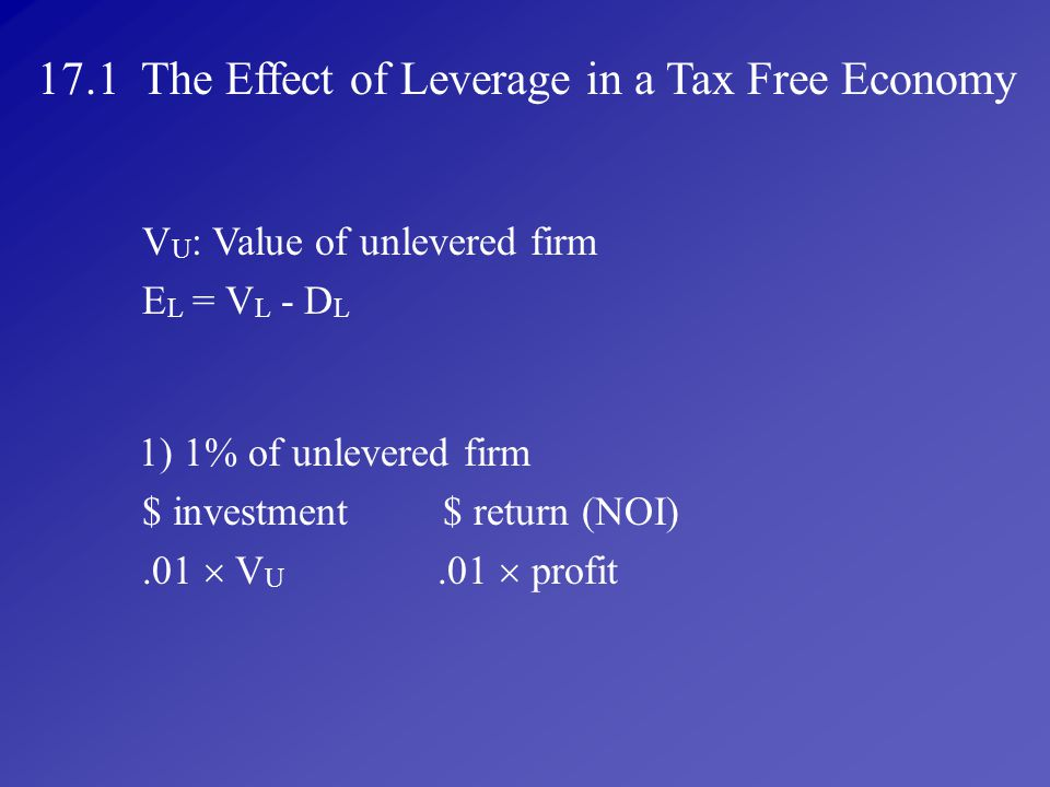 17.1 The Effect of Leverage in a Tax Free Economy