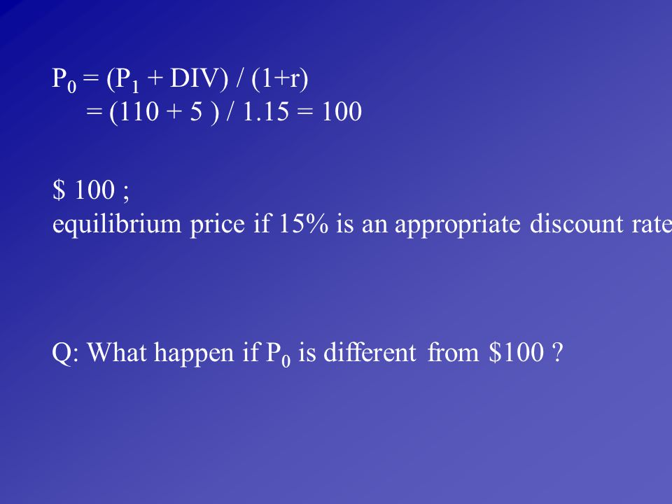 P0 = (P1 + DIV) / (1+r) = (110 + 5 ) / 1.15 = 100. $ 100 ; equilibrium price if 15% is an appropriate discount rate.