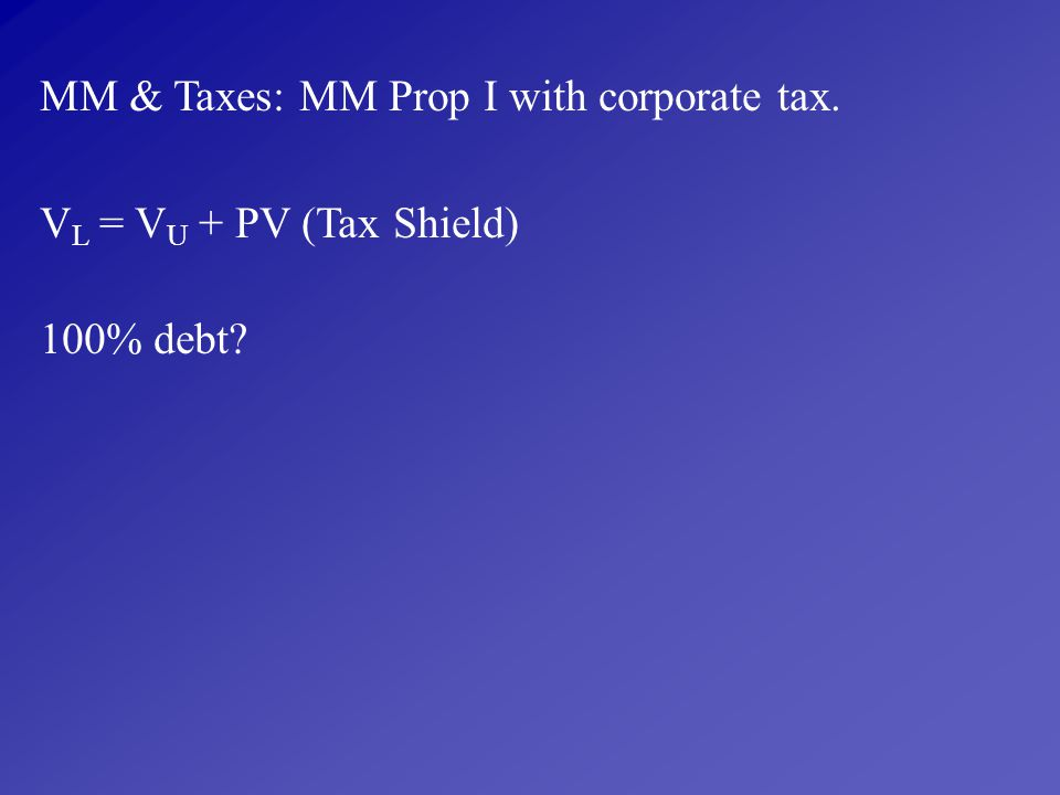 MM & Taxes: MM Prop I with corporate tax.