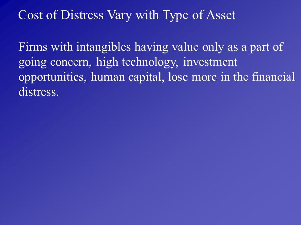 Cost of Distress Vary with Type of Asset