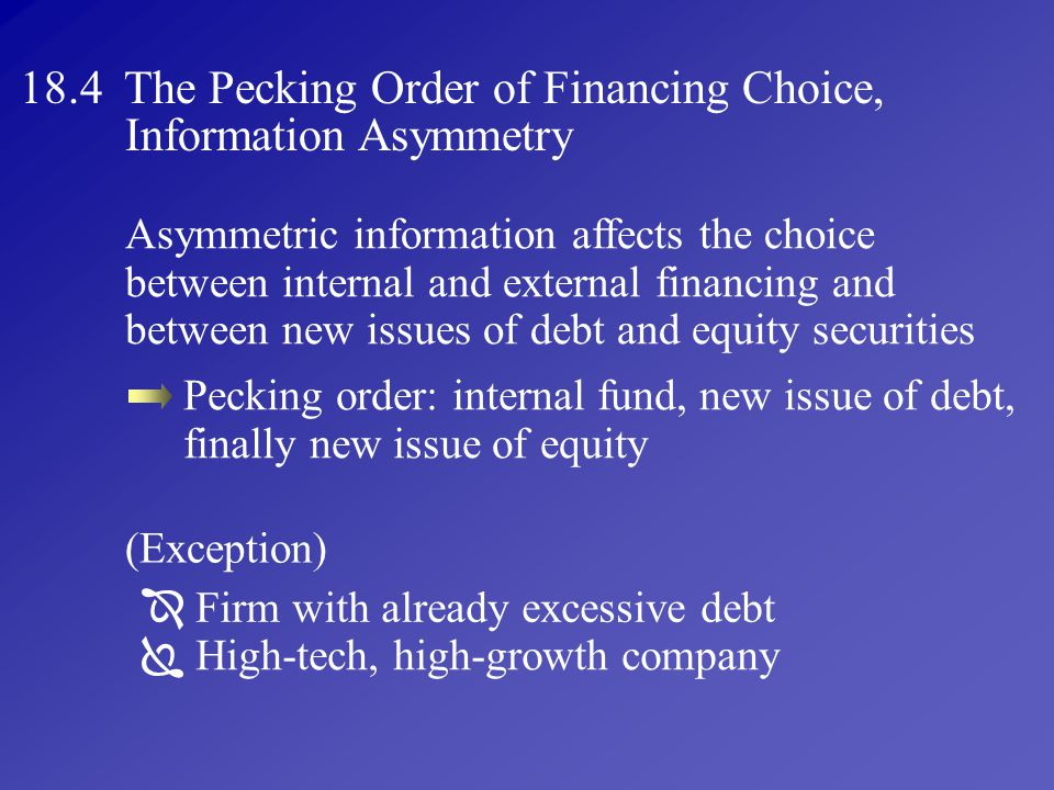 18.4 The Pecking Order of Financing Choice, Information Asymmetry