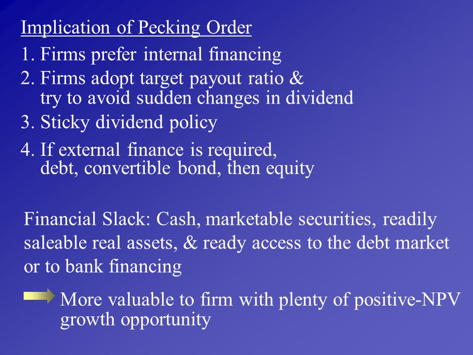 Implication of Pecking Order