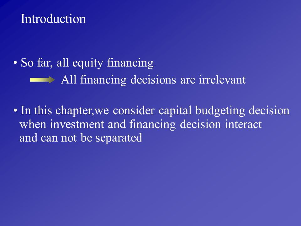Introduction So far, all equity financing