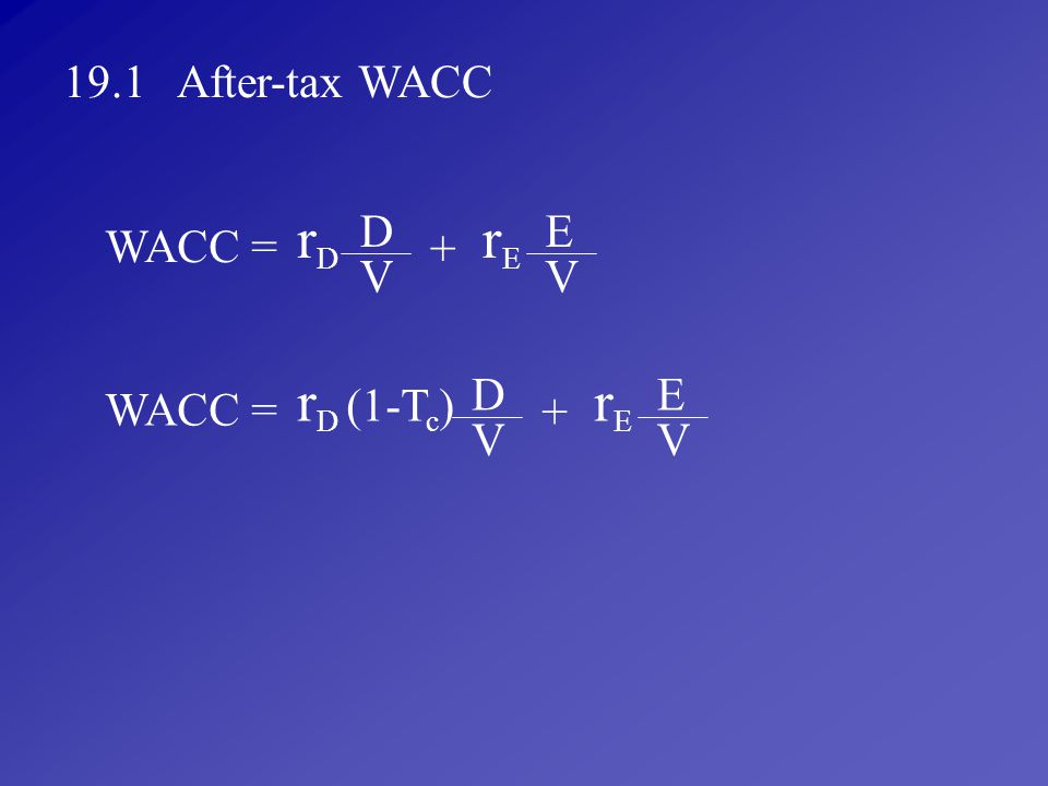rD rE rD (1-Tc) rE 19.1 After-tax WACC D E WACC = + V V D E WACC = + V