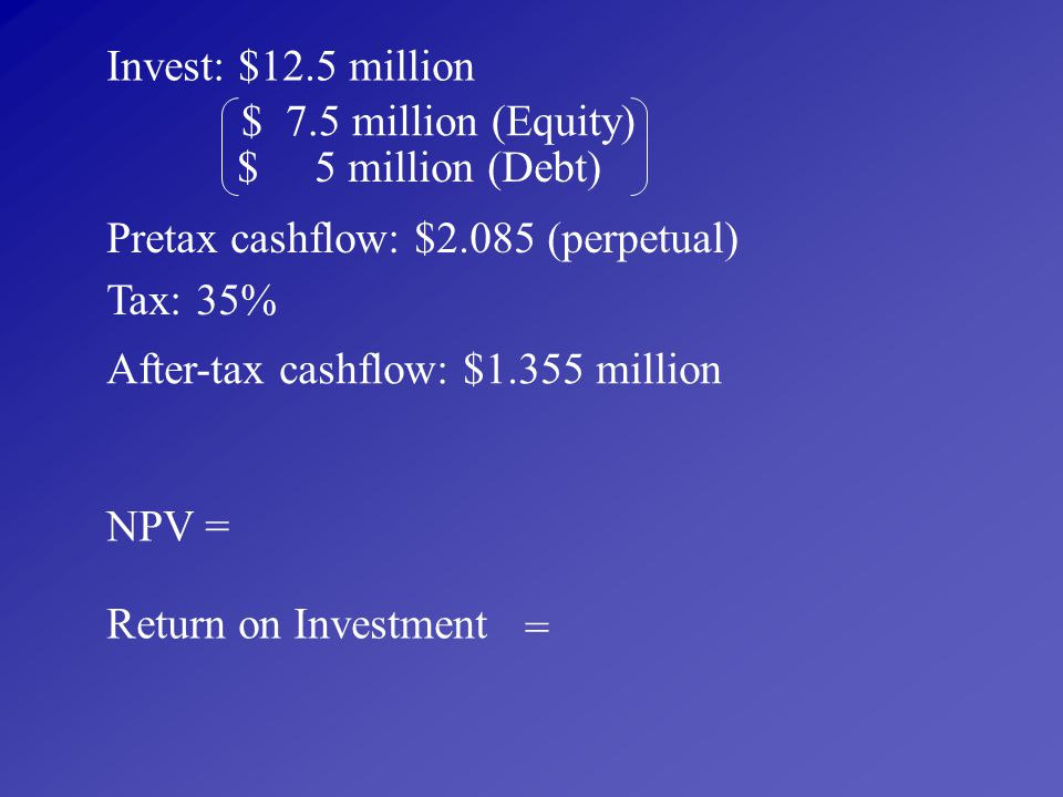 Invest: $12.5 million $ 7.5 million (Equity) $ 5 million (Debt) Pretax cashflow: $2.085 (perpetual)
