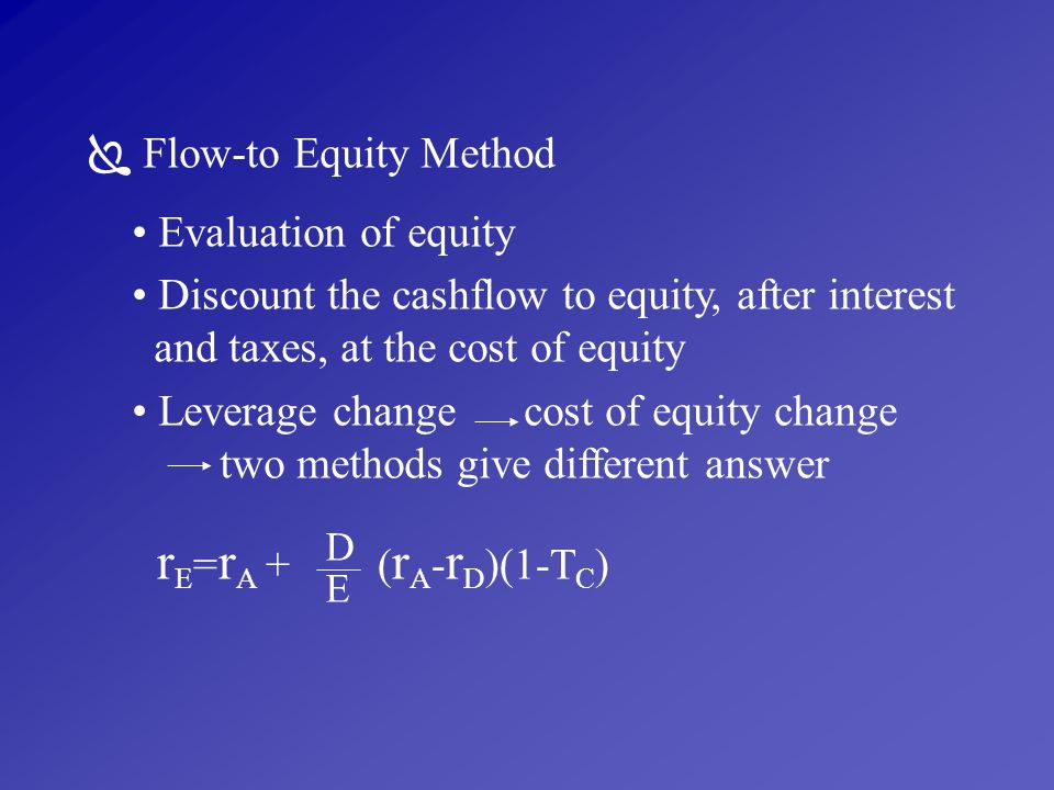 rE=rA + (rA-rD)(1-TC)  Flow-to Equity Method Evaluation of equity