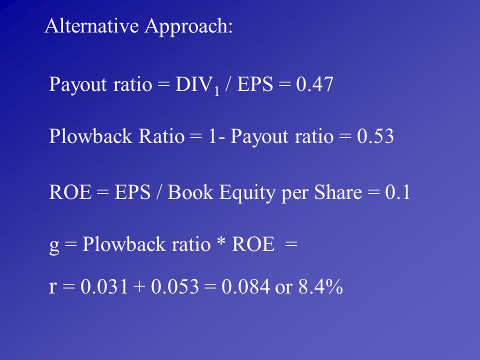 r = 0.031 + 0.053 = 0.084 or 8.4% Alternative Approach: