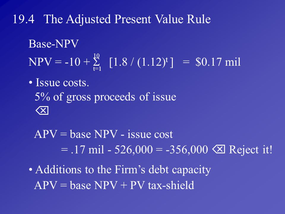 19.4 The Adjusted Present Value Rule