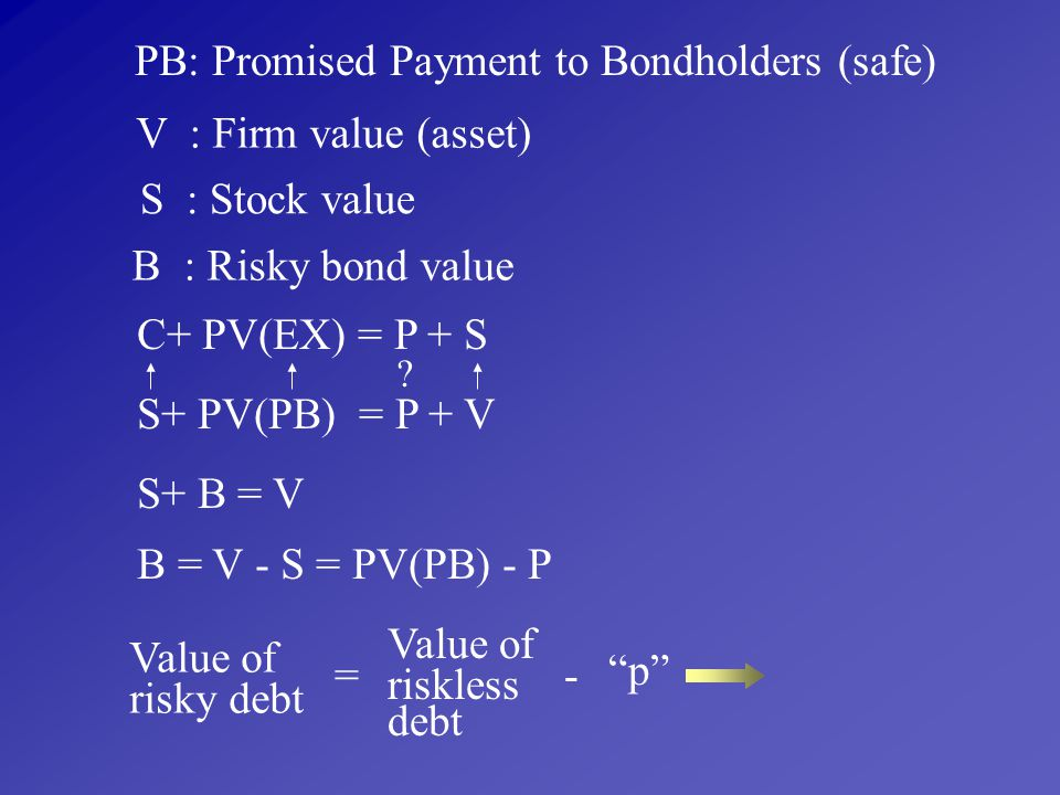 PB: Promised Payment to Bondholders (safe)