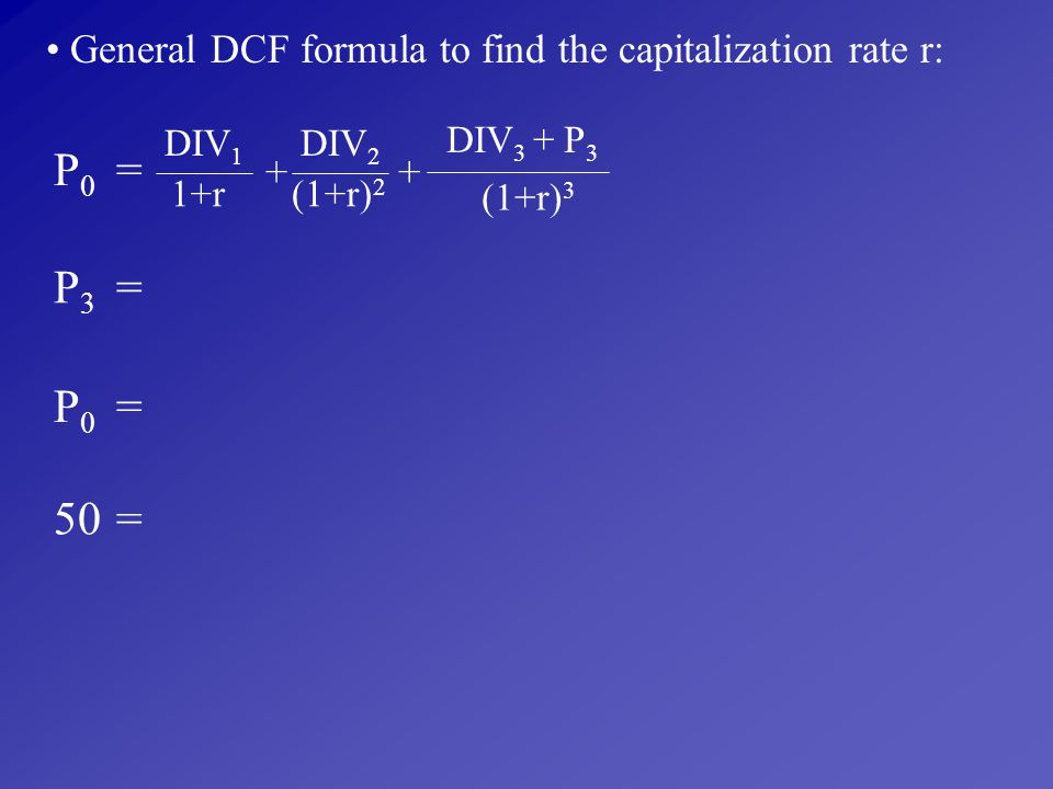 General DCF formula to find the capitalization rate r: