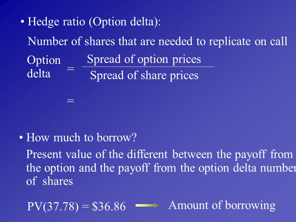 Hedge ratio (Option delta):