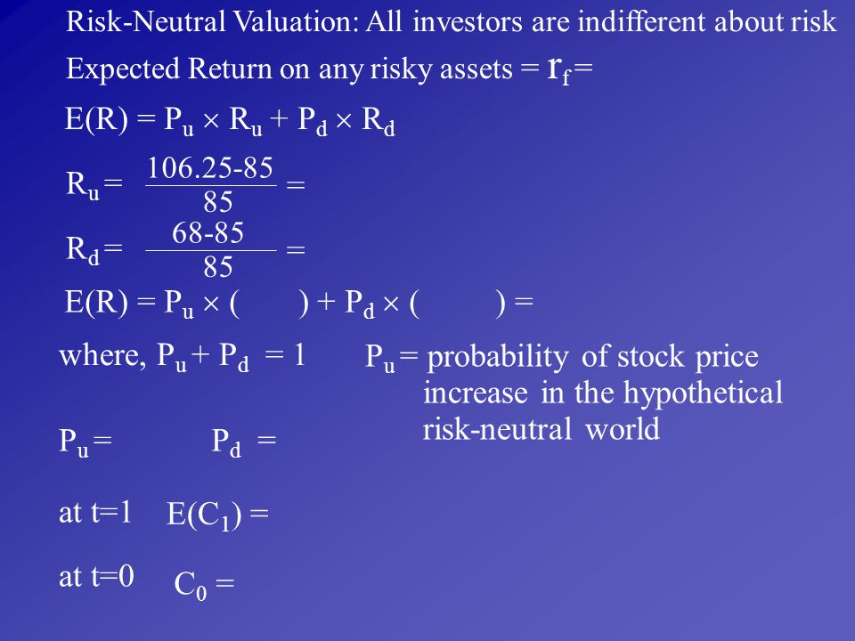 Pu = probability of stock price increase in the hypothetical