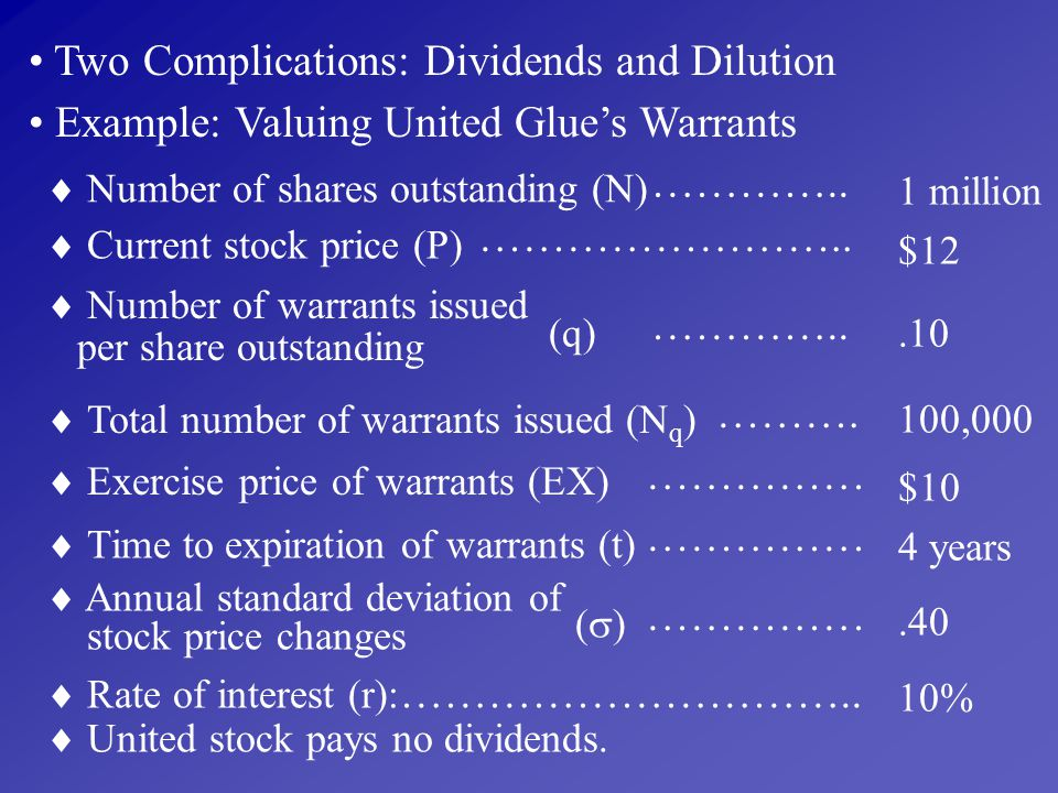 Two Complications: Dividends and Dilution