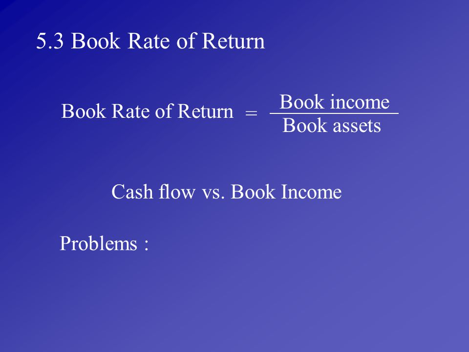 Cash flow vs. Book Income