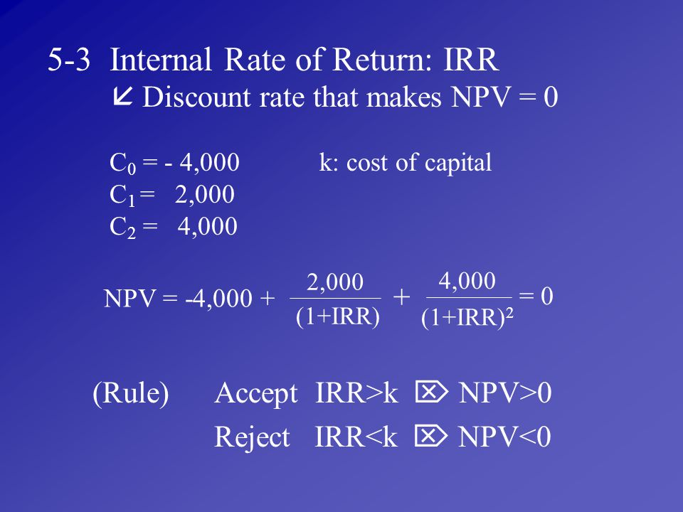 5-3 Internal Rate of Return: IRR