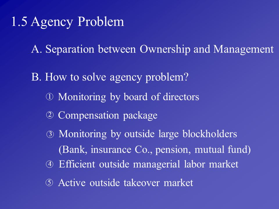 1.5 Agency Problem A. Separation between Ownership and Management