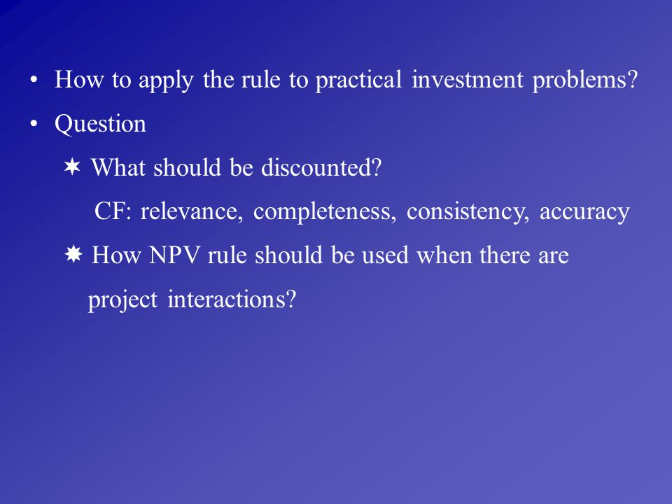 How to apply the rule to practical investment problems