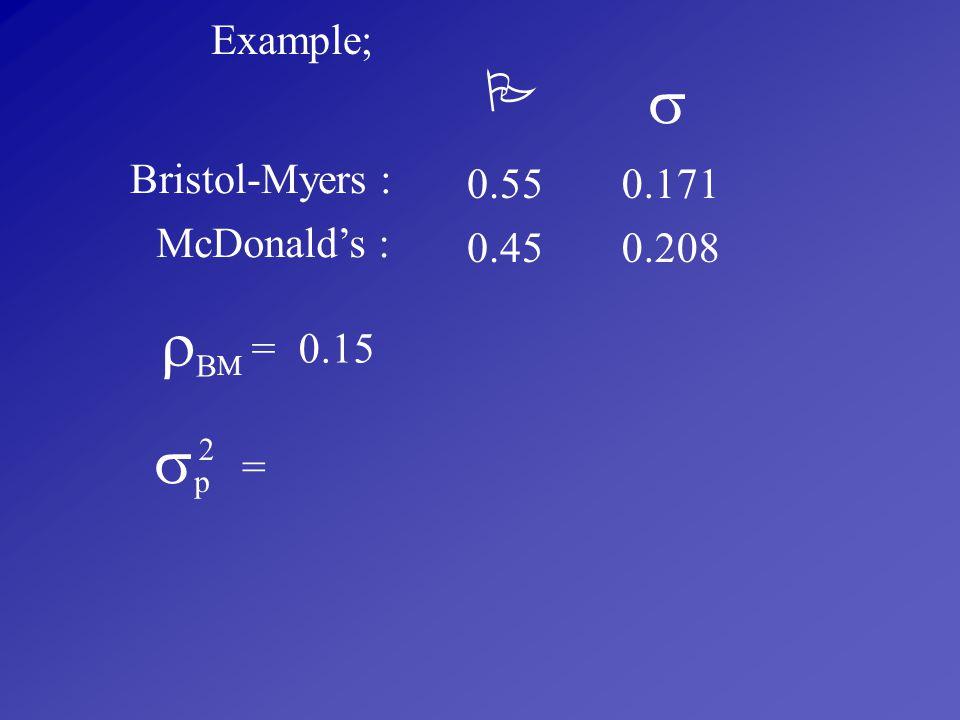  BM   Example; Bristol-Myers : 0.55 0.171 McDonald's : 0.45 0.208