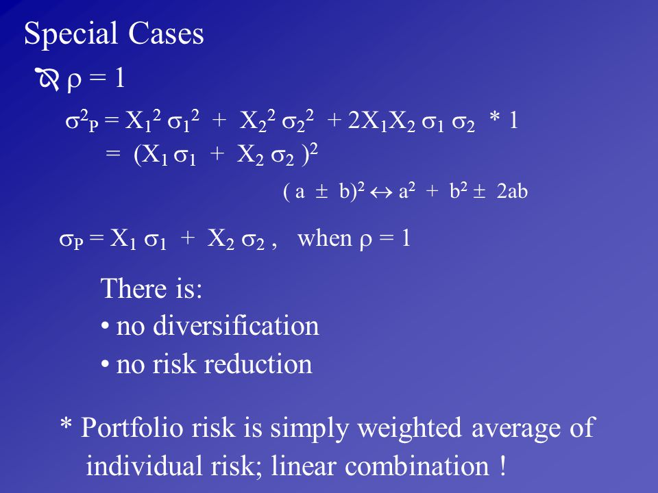 Special Cases no diversification no risk reduction
