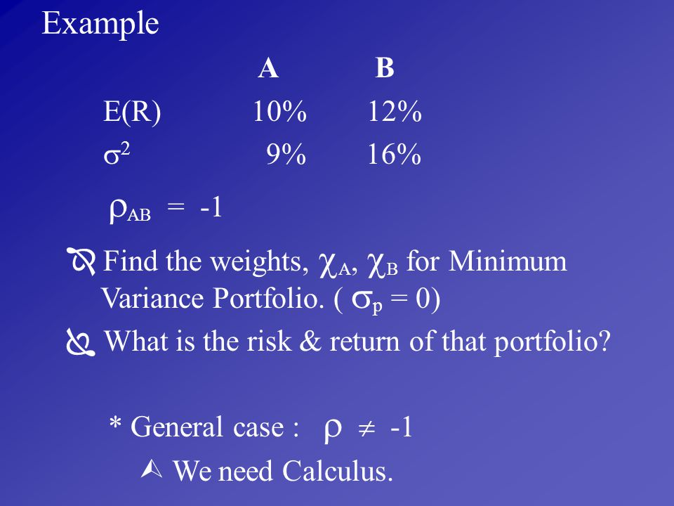 Example A B E(R) 10% 12% 2 9% 16% AB = -1