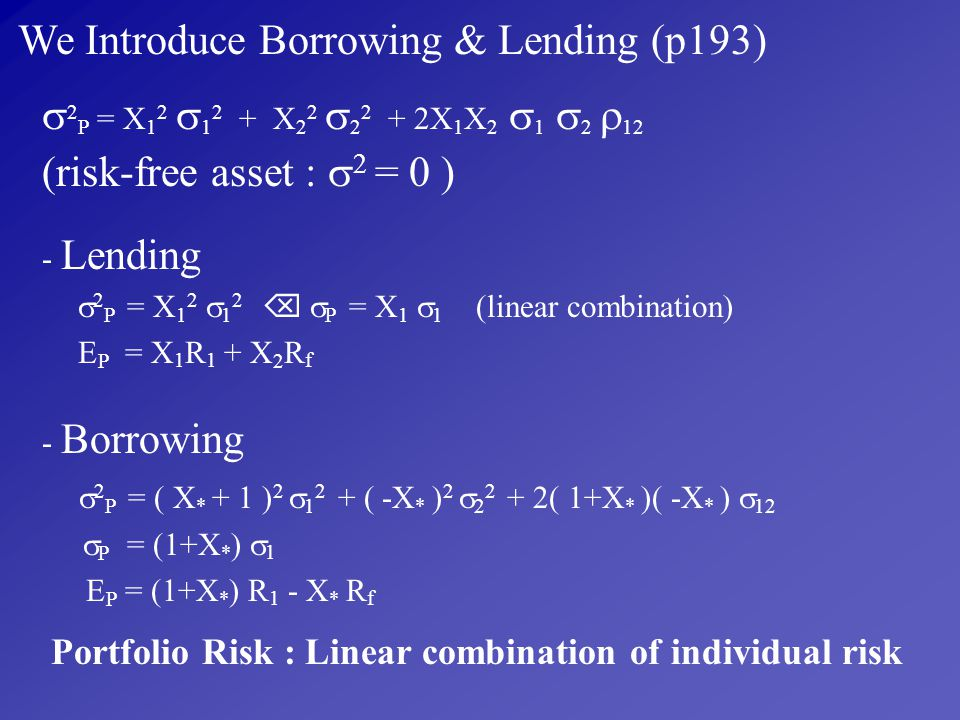 We Introduce Borrowing & Lending (p193)