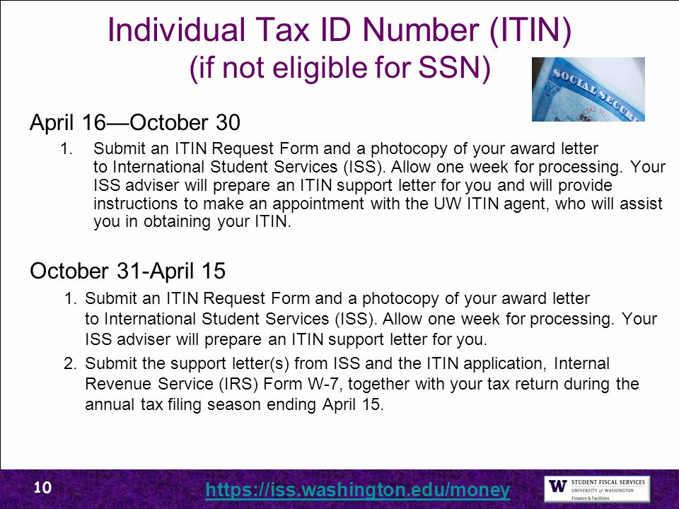 Individual Tax ID Number (ITIN) (if not eligible for SSN)