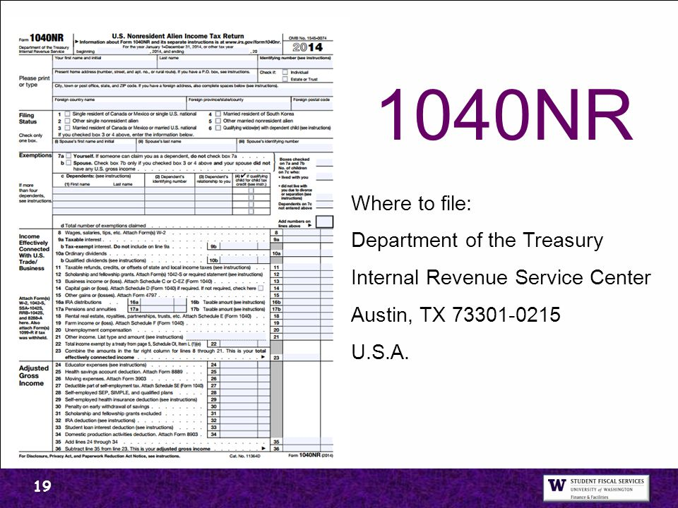 1040NR Where to file: Department of the Treasury