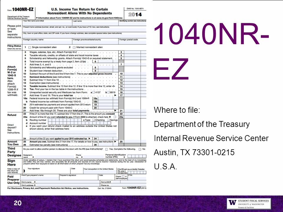1040NR-EZ Where to file: Department of the Treasury