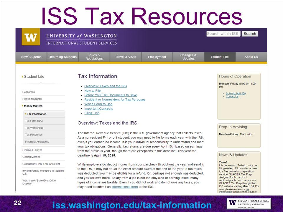ISS Tax Resources iss.washington.edu/tax-information