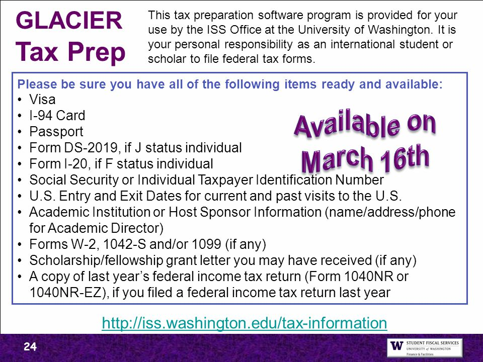 GLACIER Tax Prep Available on March 16th