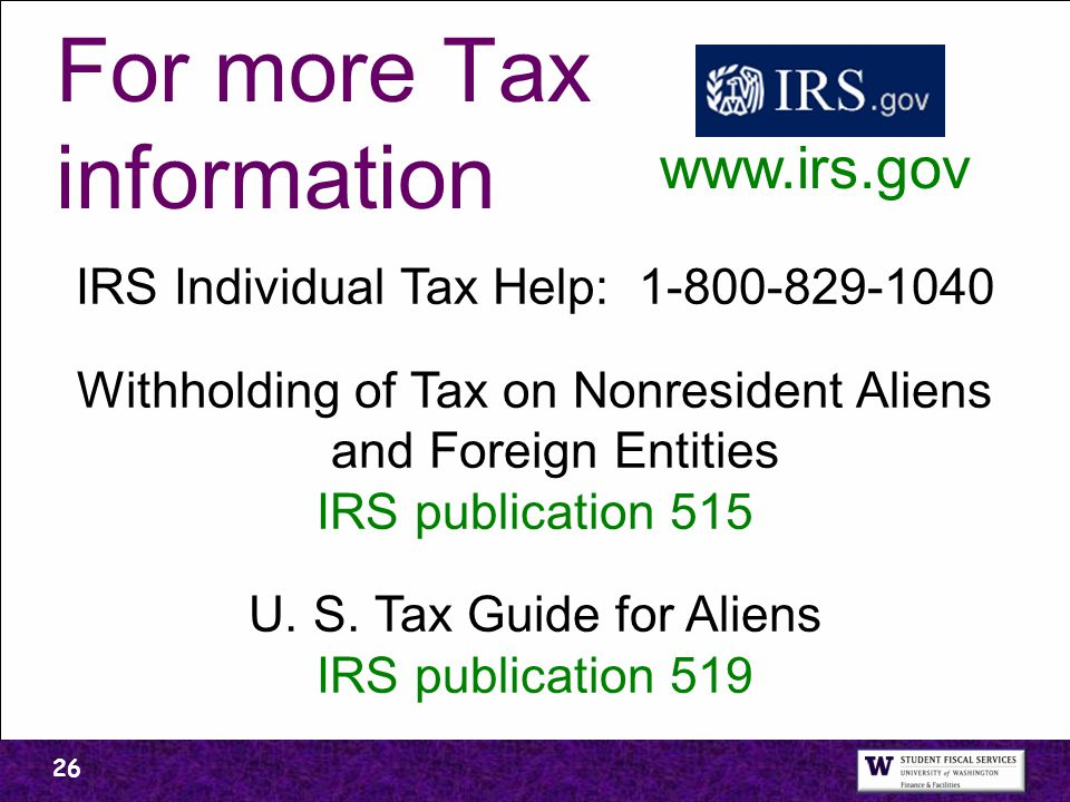 For more Tax information