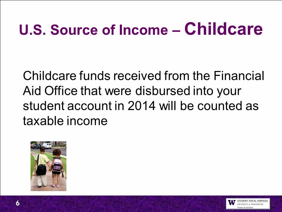U.S. Source of Income – Childcare