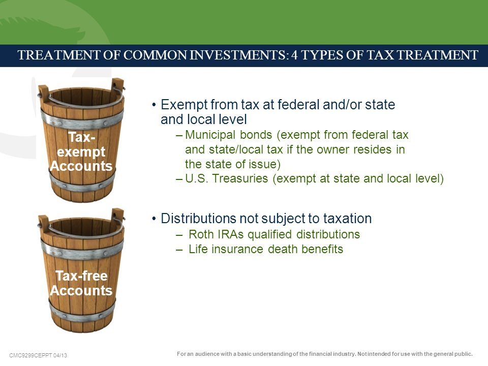 TREATMENT OF COMMON INVESTMENTS: 4 Types of Tax Treatment