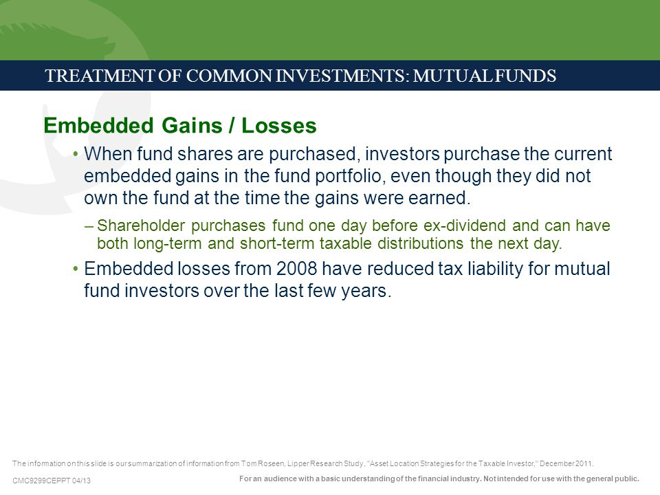 TREATMENT OF COMMON INVESTMENTS: MUTUAL FUNDS