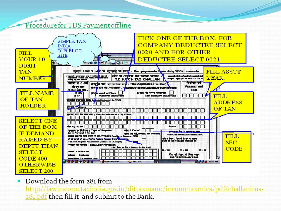 . Procedure for TDS Payment offline
