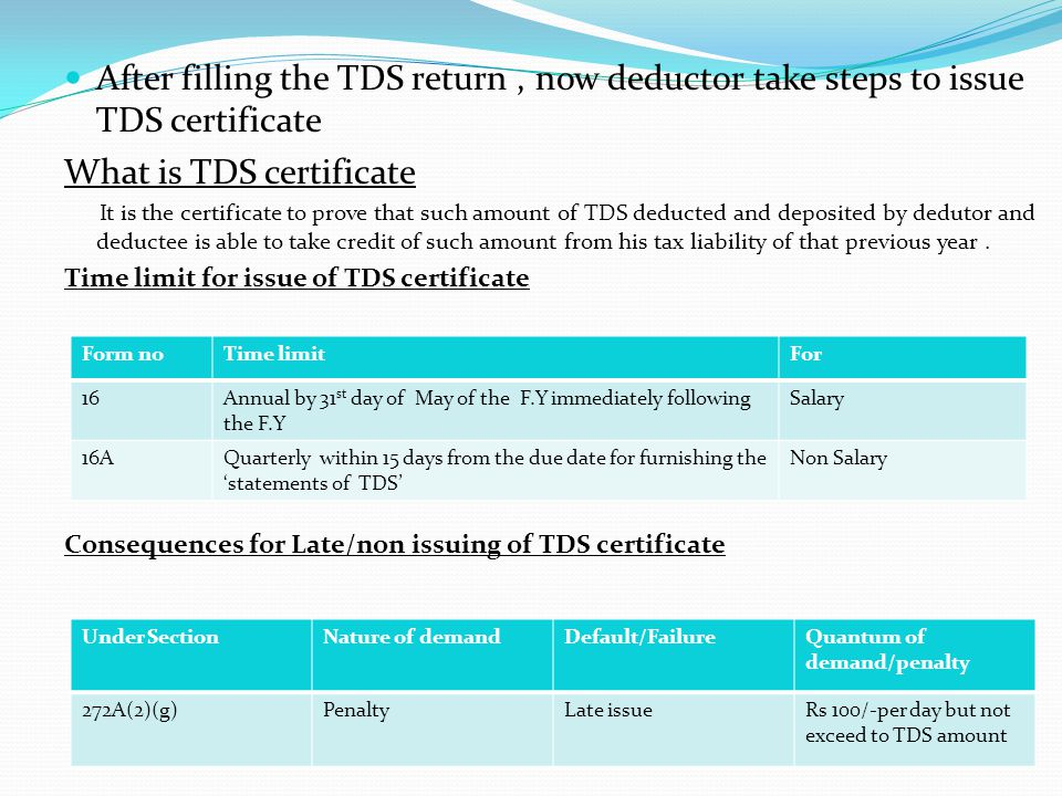 . After filling the TDS return , now deductor take steps to issue TDS certificate. What is TDS certificate.